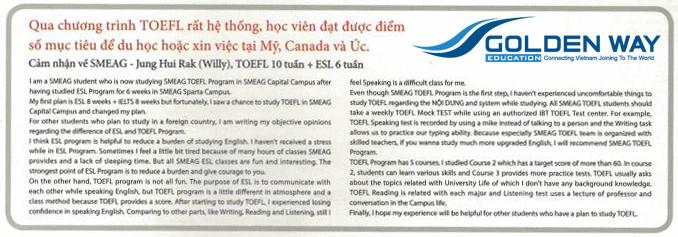 Cảm nhận học viên khoá TOEFL